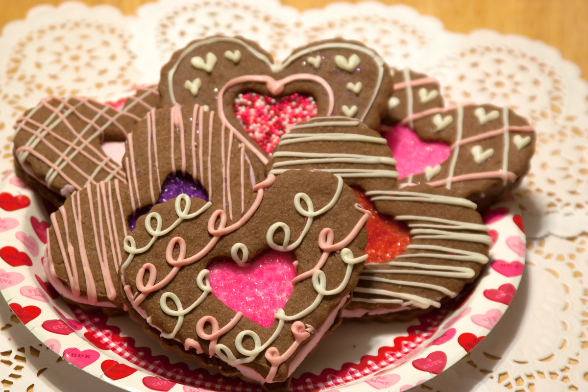plater of heart cookies