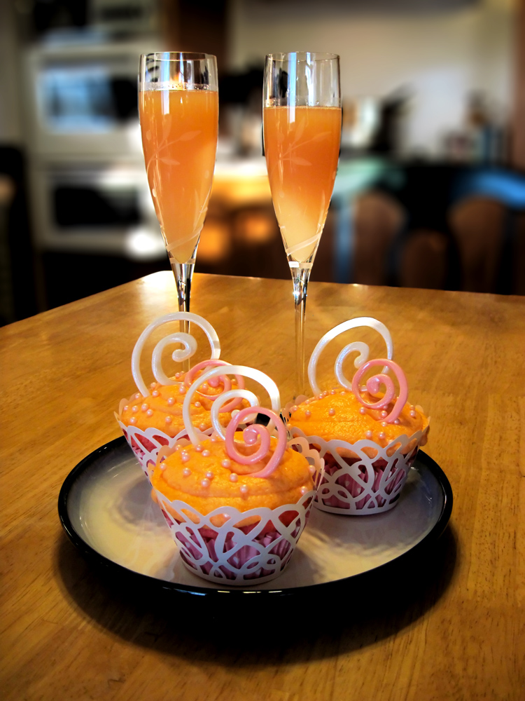 Pink Champagne Mimosa Cupcakes